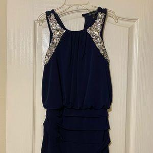 Blue sequin bodycon dress